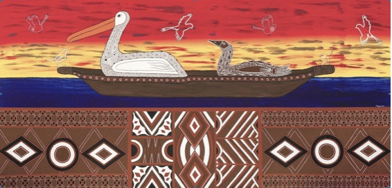 Borun and Tuck (First Man and Woman) by Terry Hayes, painted as part of The Torch program supporting Indigenous artists who are or had recently been incarcerated within a Victorian correctional facility. Published with kind permission.