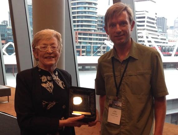 Professor Kathy Eagar, her award, and Professor Jon Karnon