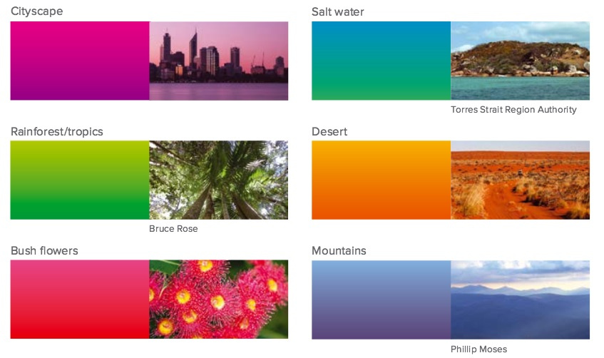 Image is from the Closing the Gap report. It explains the report's colour palette, inspired by the diversity of  Aboriginal and Torres Strait Islander communities  and the Australian landscape.