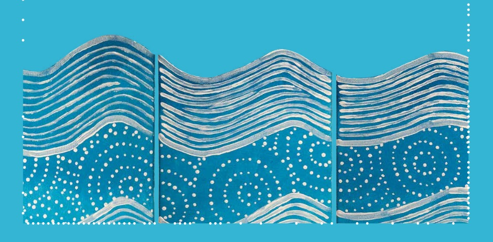 Detail from artwork on conference program, by Jade Dolman. The circles and dots represent water holes and the lines represent the movement of the river.