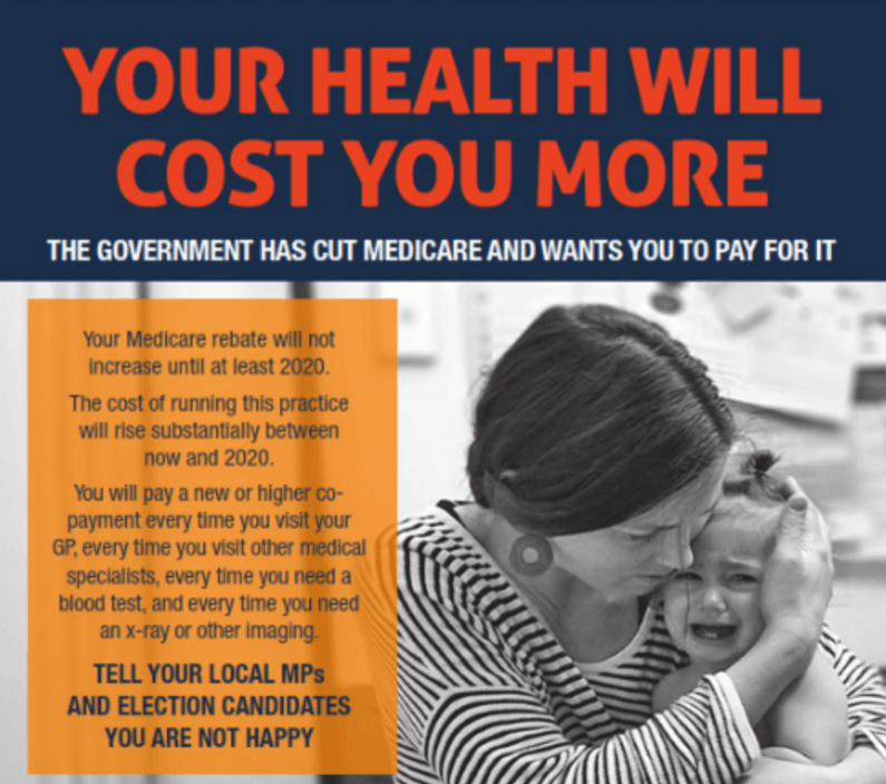 The AMA's No Medicare Freeze campaign poster.
