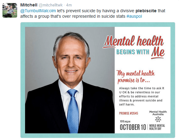 On World Mental Health Day, calls for the AMA and Parliament to take a stand on the plebiscite