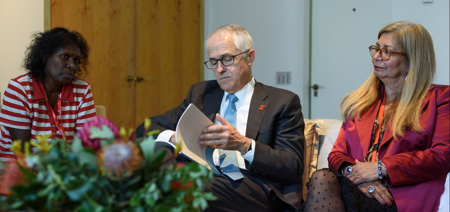 Walmajarri and Bunaba Kimberley mother Lena Andrews (L) and Indigenous National Mental Health Commissioner Professor Pat Dudgeon with Prime Minister Malcolm Turnbull at the launch of the ATSISPEP report.