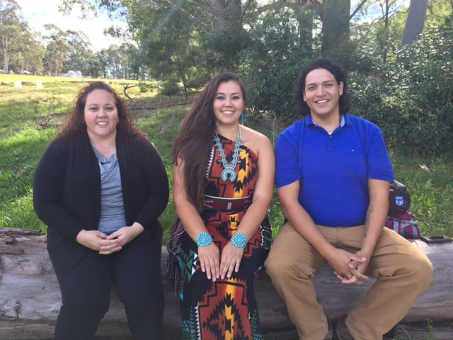 Marlene Longbottom, Janelle Cronin and Zachary Wamego (L to R) - interviewed on Darug country at Macquarie University