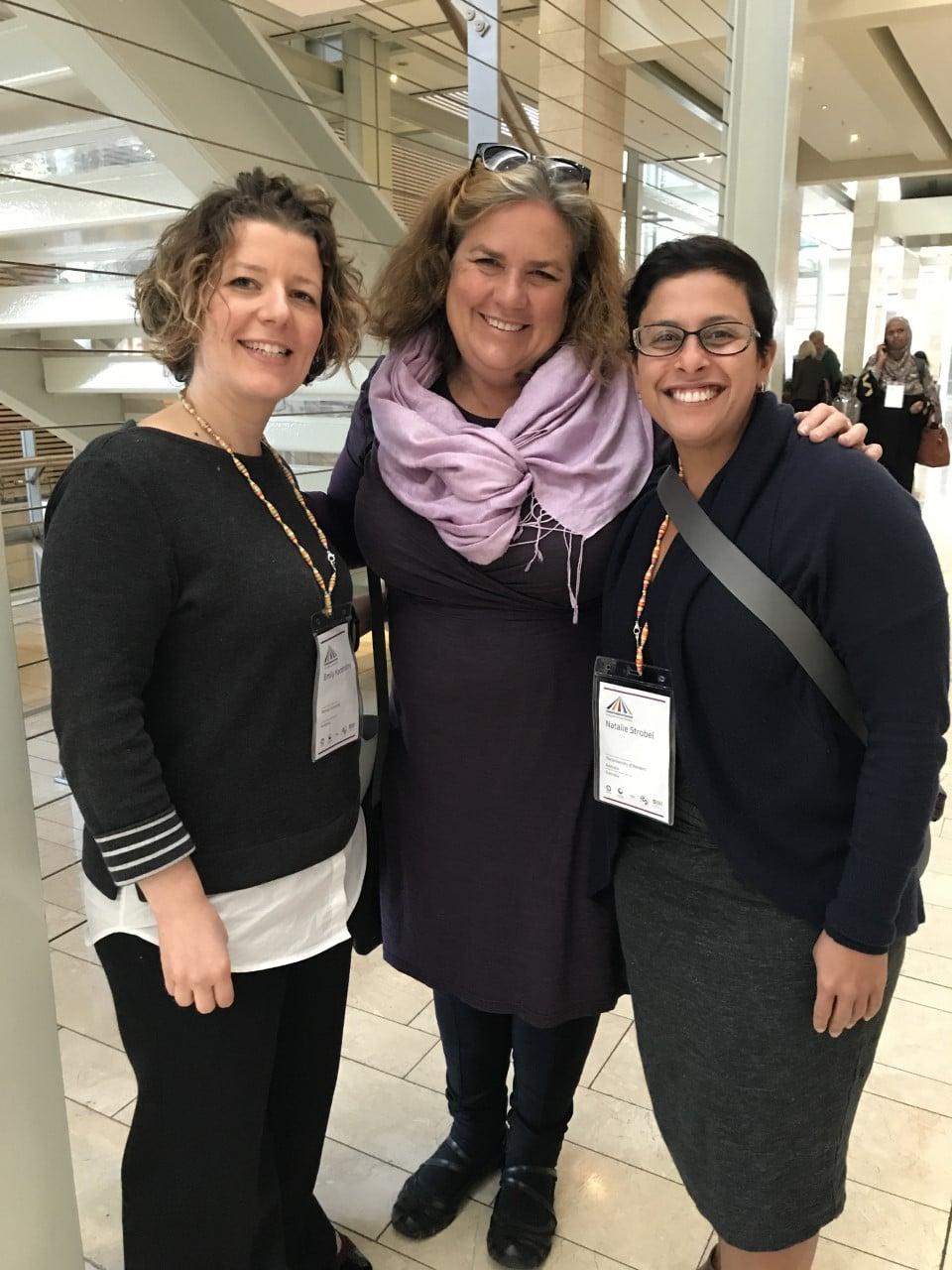 Three Australian delegates at the Global Evidence Summit: Emily Karahalios, Cath Chamberlain and Natalie Strobel.