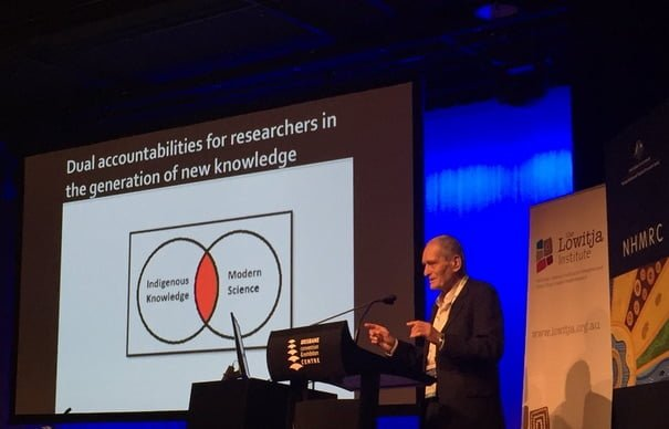 Photograph courtesy @LowitjaInstitut tweet: Sir Mason Durie discussing dual accountability