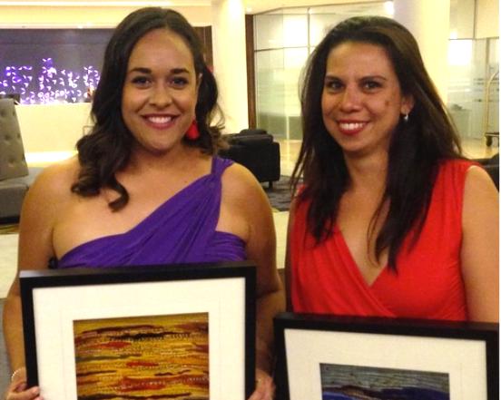 Award winners Michale Chandler (L) and Kirsty Nichols