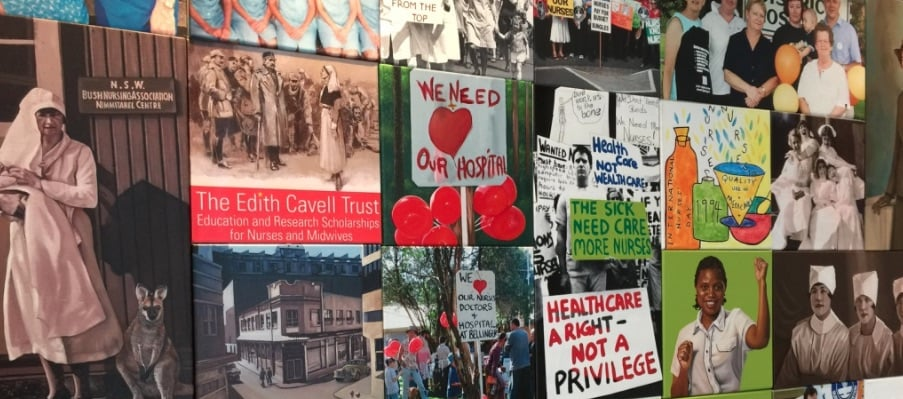 Detail from nursing history display at NSW Nurses Association. Photograph by Melissa Sweet