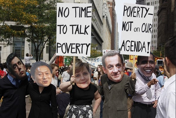 It's not only world leaders who are reluctant to talk poverty... Photograph via Flickr. Pittsburgh, US, during G20 meeting in 2009. https://www.flickr.com/photos/g20voice/sets/72157622454525606