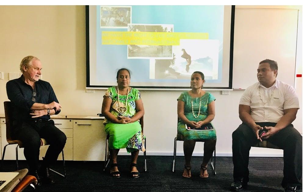 From left to right - Phil Glendenning (Edmund Rice Centre), Rakentai Momoe Teumauma, Tebataua Karotu and  Moritio Baraniko.