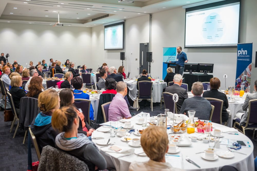 CSIRO's Dr Stefan Hajkowicz presenting at the GP Breakfast prelude to the Metro North Health Forum 2018