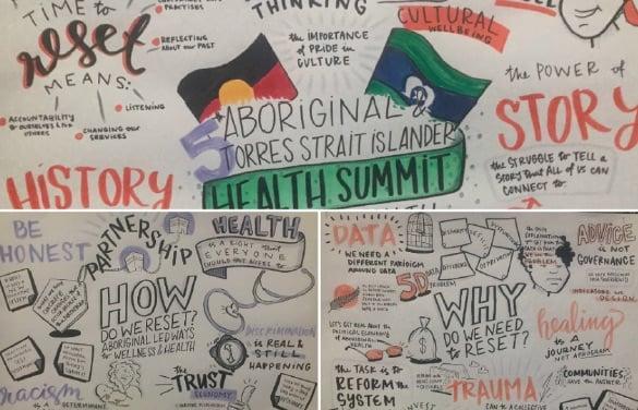 Compilation of graphic artwork from #IndigenousHealthSummit by Devon Bunce from Digital Story Tellers (digitalstorytellers.com.au)