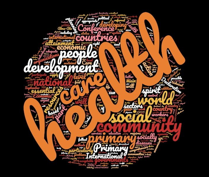 Word Cloud with the text of the Alma-Ata Declaration