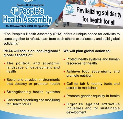 Please support this crowdfunding campaign, so we can cover the 4th Peoples' Health Assembly - #PHA4