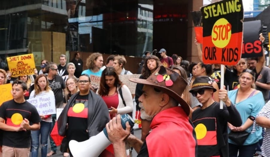 Protestors rally outside Channel 7 studios in Sydney. Image via The Conversation,  AAP/Crowdspark