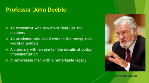 Still from a Twitter tribute to Prof John Deeble from AHCRA