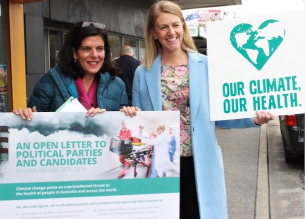 Mounting a climate challenge to Health Minister Greg Hunt: Independent MP Julia Banks (L). Image via Climate and Health Alliance tweet.