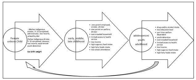 Relationships between causes, social factors and life stages