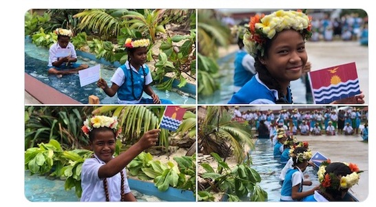 Powerful symbolism greets Pacific Islands Forum delegates. Image via @ForumSEC