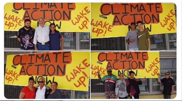 Calling for climate action in Walgett, NSW. Photograph courtesy of Dharriwaa Elders Group, via Twitter