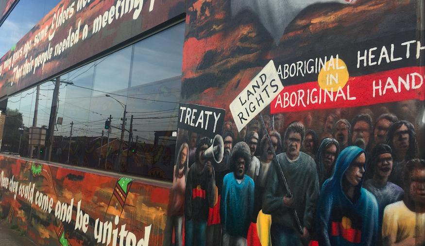 """Aboriginal health in Aboriginal hands"": Mural at the Victorian Aboriginal Health Service in Preston, Melbourne"