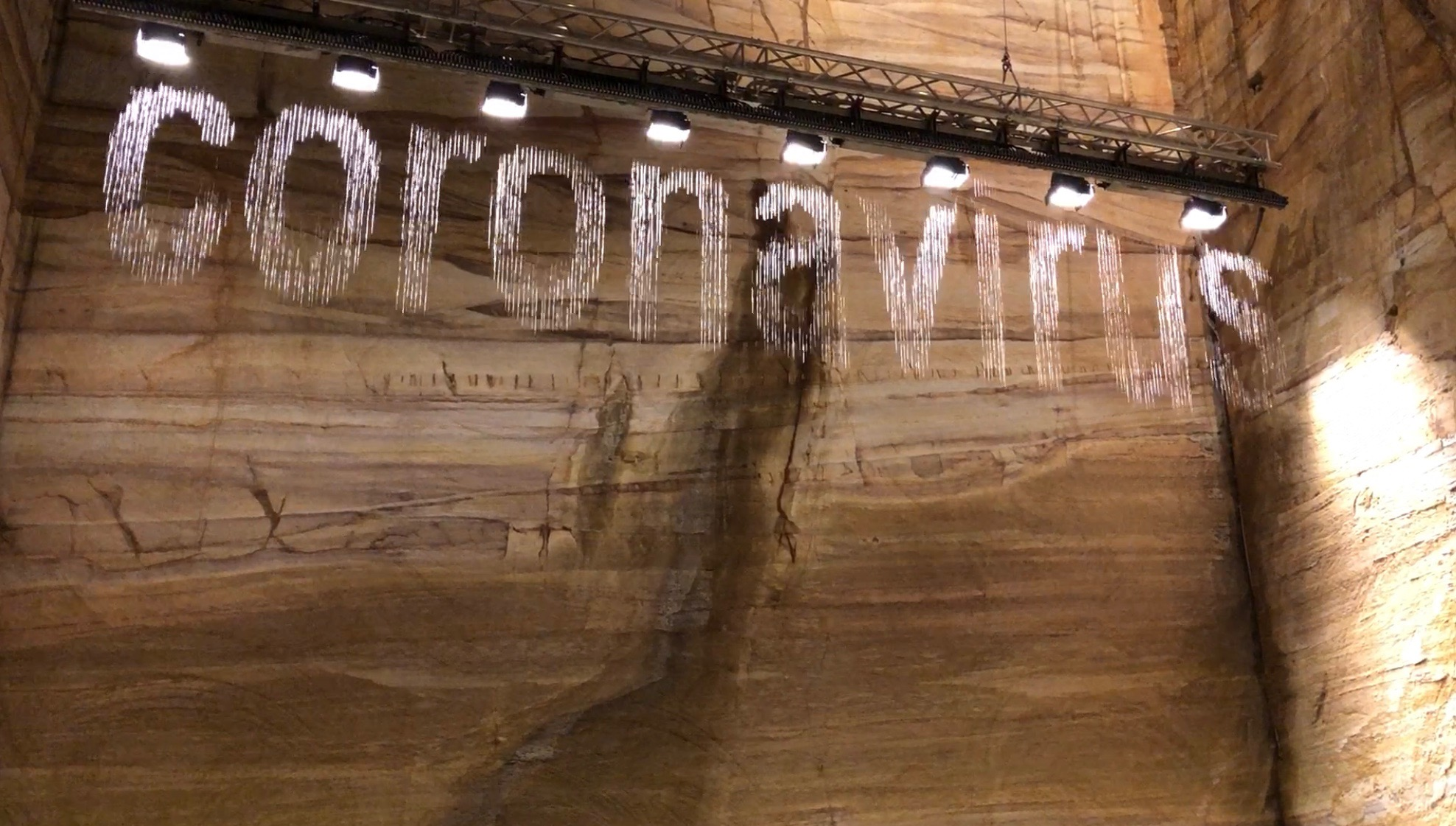 The coronavirus has been featuring in this artistic installation at MONA in Hobart. Bit Fall, by German artist Julius pop, drips words from real-time Google searches. Photograph, Mitchell Ward