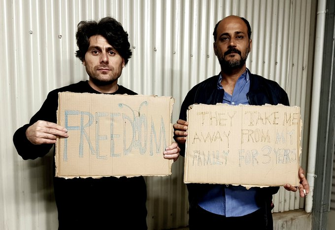 A photo tweeted by Farhad Bandesh (left), and a fellow detainee from the Melbourne Immigration Transit Accommodation (MITA) facility last week. Published with permission