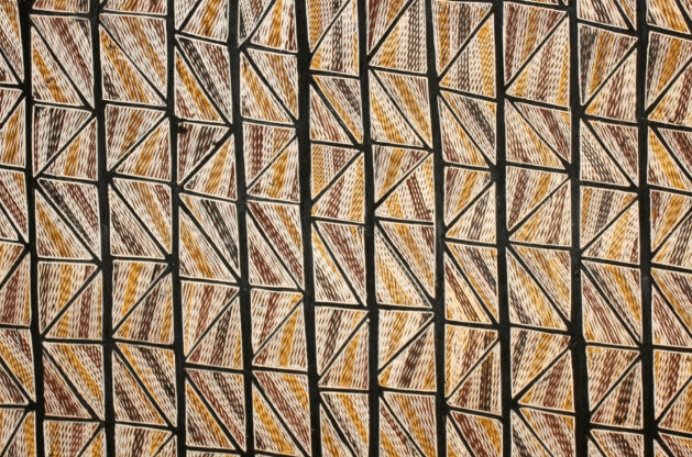 Image by Terry Ngamandarra Wilson, Gulach (detail), painting on bark, private collection © Terry Ngamandarra, licensed by Viscopy, 2016. From the front cover of Indigenous Australians and the COVID-19 crisis: perspectives on public policy