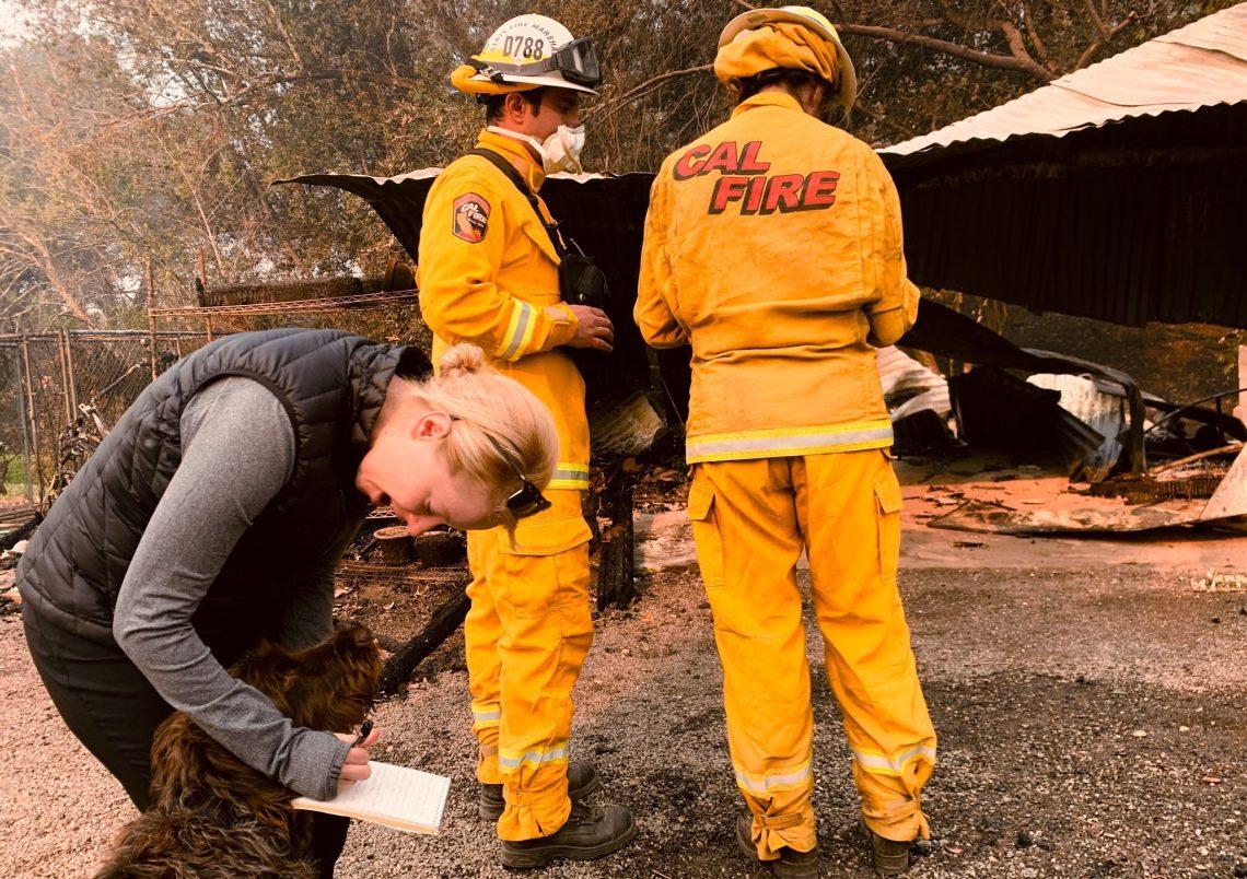On fire duty: United States journalist Lizzie Johnson. Photo credit: Jessica Christian