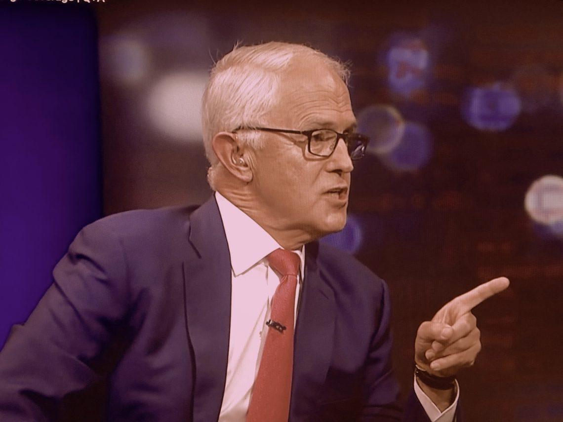 Malcolm Turnbull attacking News Corp's record on climate coverage. QandA, 9 November, screenshot