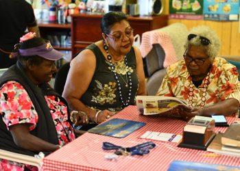 Mary Ward, June Oscar AO, and Nazareth Adidi at the Thursday Island Home and Community Centre. Photo by Wayne Quilliam.