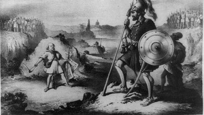 An 1872 drawing of David and Goliath (with contemporary overtones). Courtesy of the Library of Congress, US