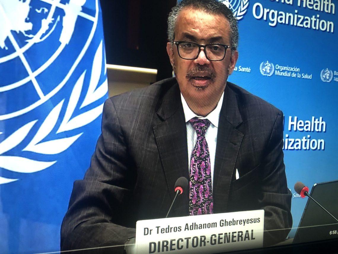 WHO's Dr Tedros Adhanom Ghebreyesus addresses the launch