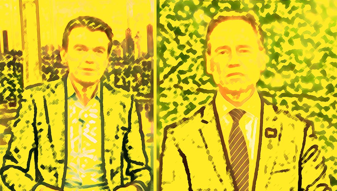 Michael Rowland (L) and Greg Hunt on ABC TV, 10 Feb, 2020. (Digital filters applied)