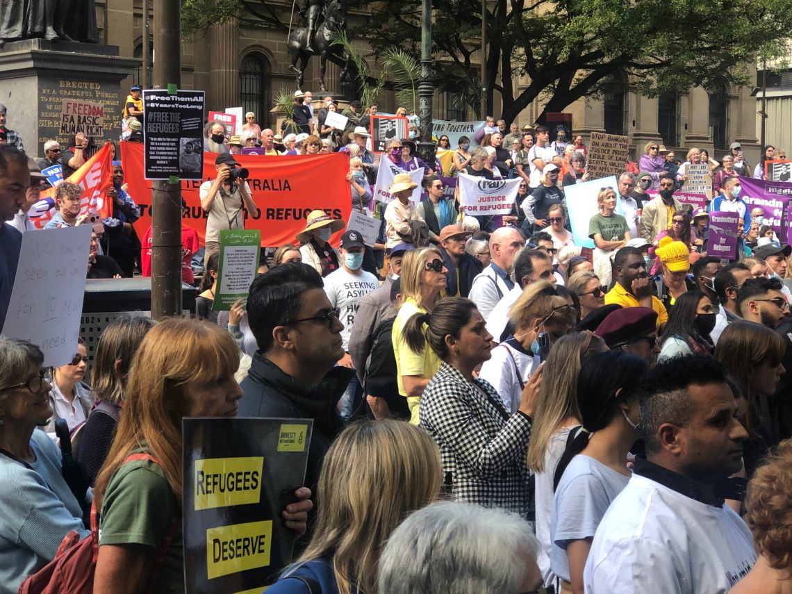 Urging #Justice4Refugees at the asylum seeker rally in Melbourne last weekend. Photo: Marie McInerney
