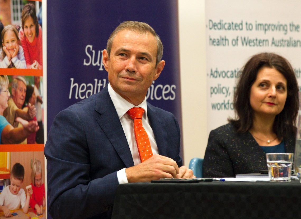 Minister Roger Cook and Alison Xamon, at a public health forum before the election. Photo supplied by PHAIWA