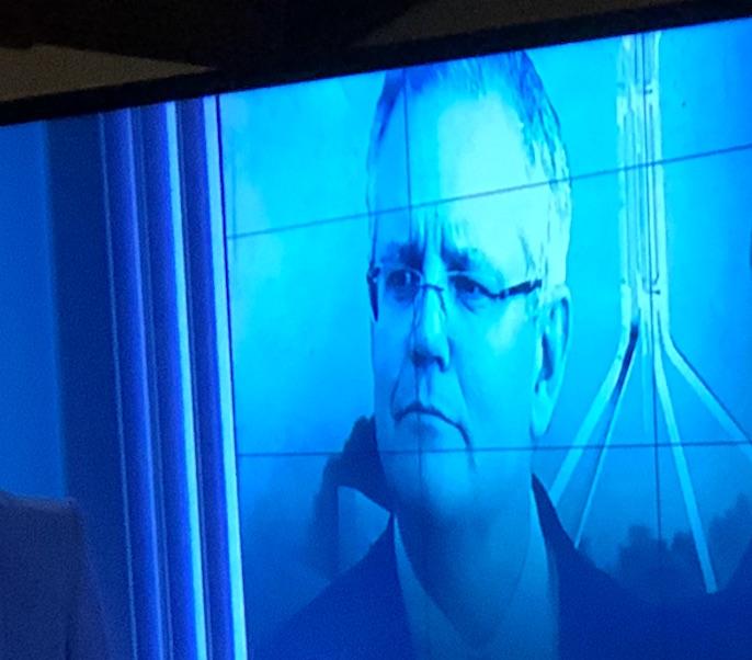 """Relentlessly optimistic political messaging..."" Photo: Prime Minister Scott Morrison, on ABC TV before 2019 election."