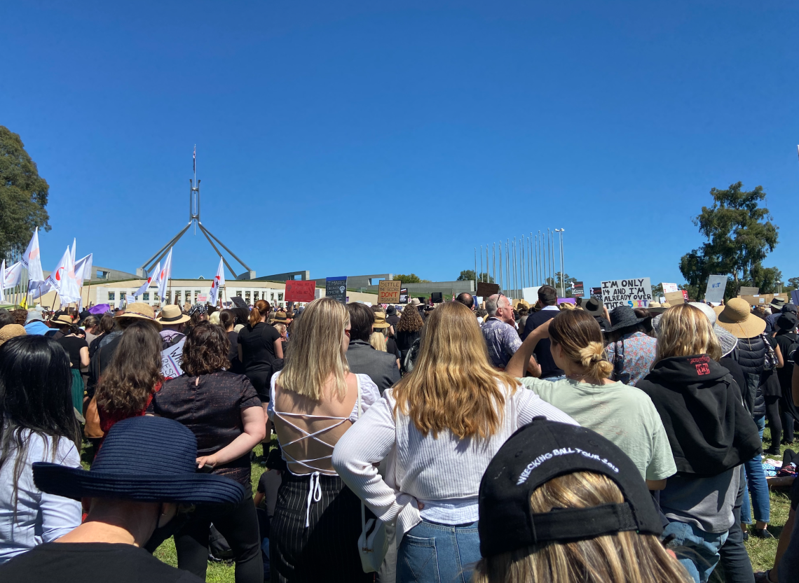 Women rally for justice, Canberra, March 2021. Photo by Jennifer Doggett
