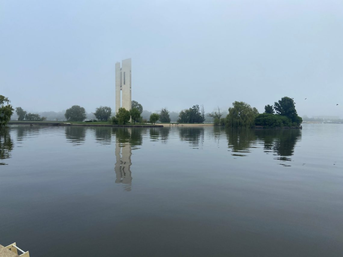 Reflections on Budget days in Canberra. Photo by Jennifer Doggett