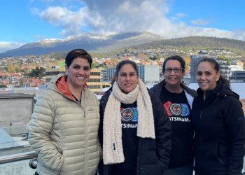 The CATSINaM team with the beautiful mountain, kunanyi
