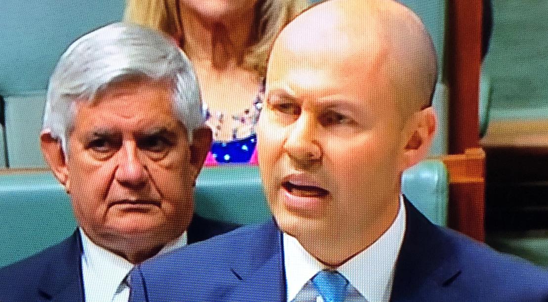 Treasurer Josh Frydenberg, flanked by Minister for Indigenous Australians Ken Wyatt
