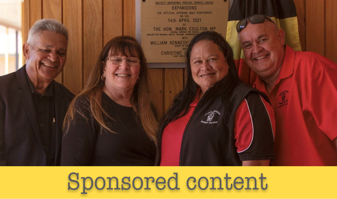 Strengthening the work at Walgett: (L-R) WAMS Chairperson Bill Kennedy, CEO Christine Corby, Chronic Disease Manager Whitney Skuthorpe and Clinic Manager Phillip Dowse. Photo supplied