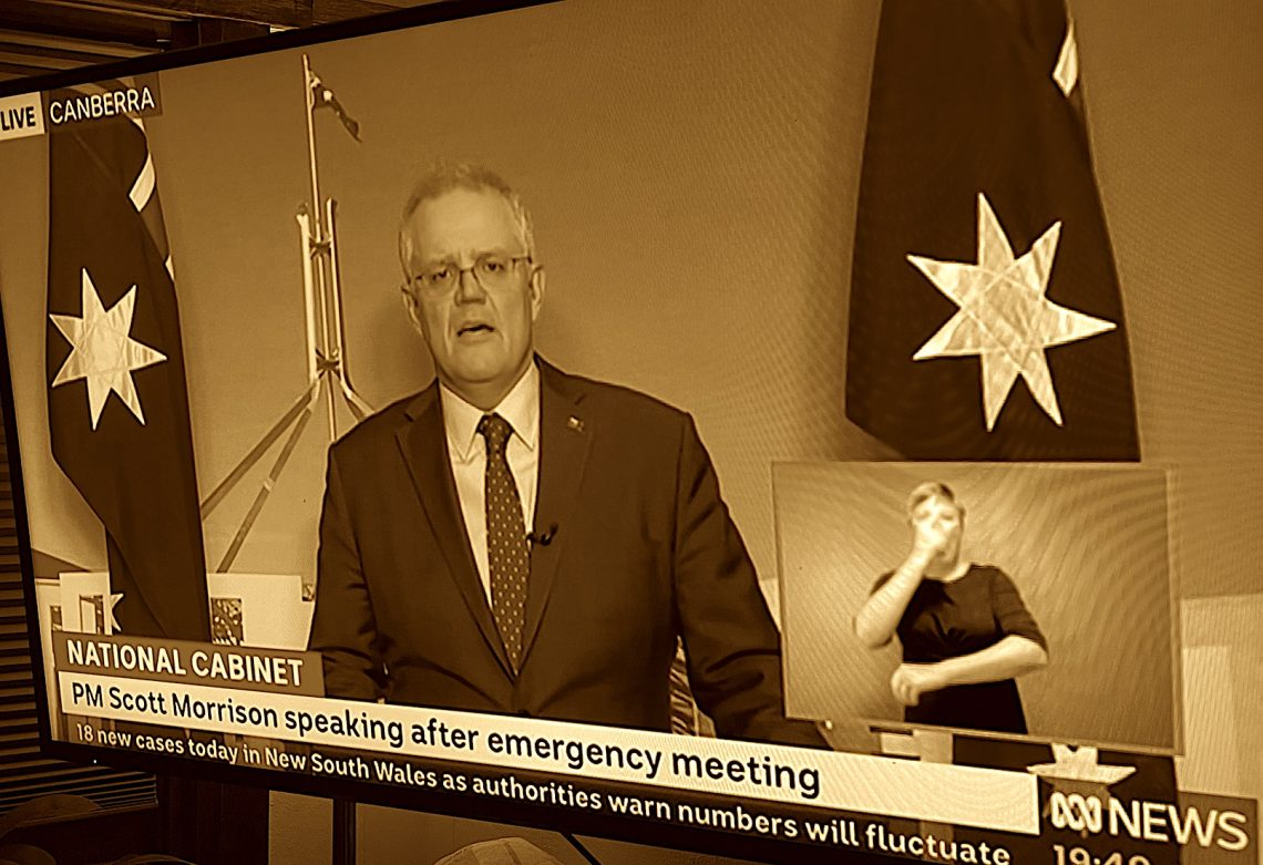 'National Cabinet's effectiveness relies on public cooperation and trust' Prime Minister Scott Morrison on 28 June, screen grab from ABC TV.