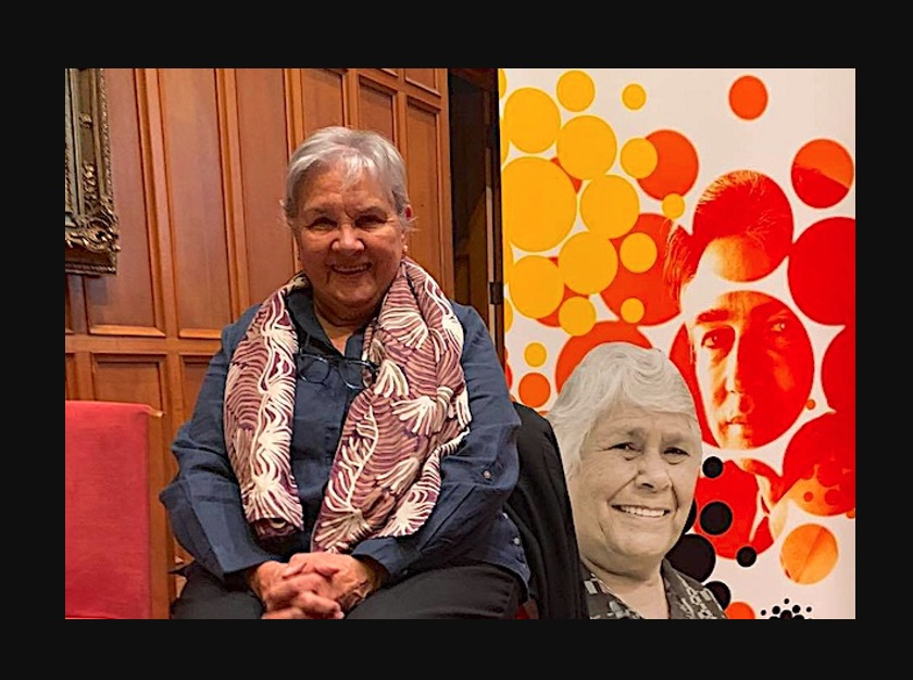 Pat Anderson, at the 2021 Lowitja O'Donoghue Oration. Photo courtesy of the Lowitja Institute
