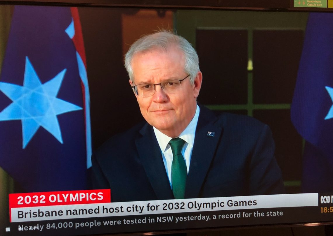 Deflecting blame. The Prime Minister, pictured on ABC TV, 21 July