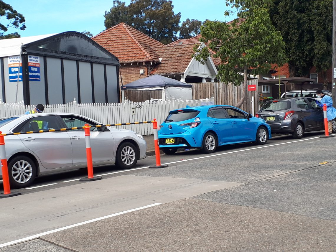 Cars queued for testing outside the Belmore Respiratory Clinic in Canterbury Bankstown Photo credit: Cate Carrigan