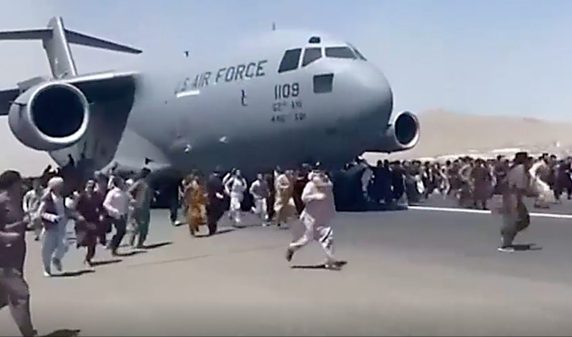 Desperately traumatic scenes from Afghanistan as people seek to flee the Taliban rule. Image from ABC TV