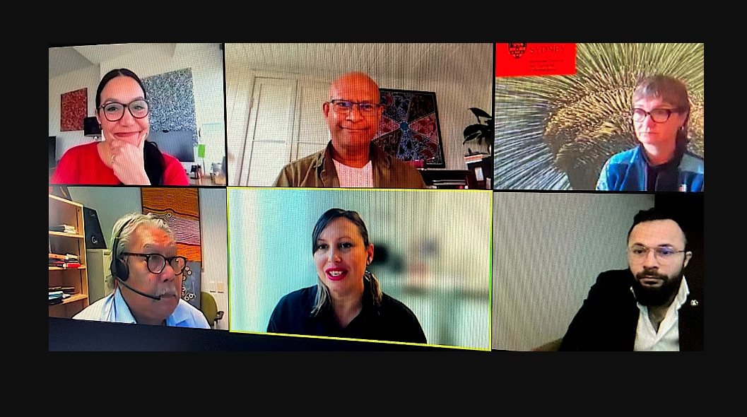 Lowitja Institute launch. From top L: Dr Janine Mohamed, Dr Mark Wenitong, Assoc Professor Megan Williams, Dr Raglan Maddox, Dr Summer May Finlay and Uncle Mick Adams