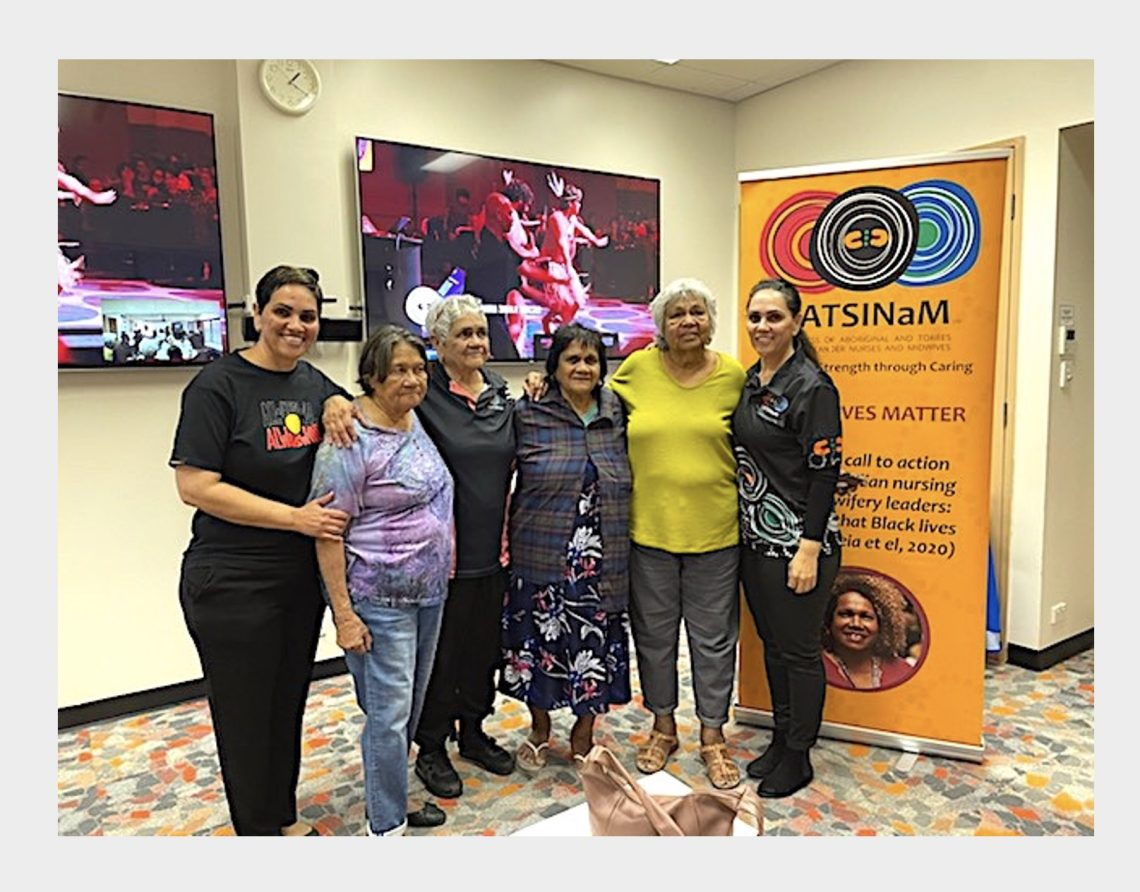 Roianne West (L), pictured with sister Leeona West (R), their mother Aunty Karen West, Aunty Illona Parter and  community Elders Aunty Mona Phillips and Aunty Perle Connelly