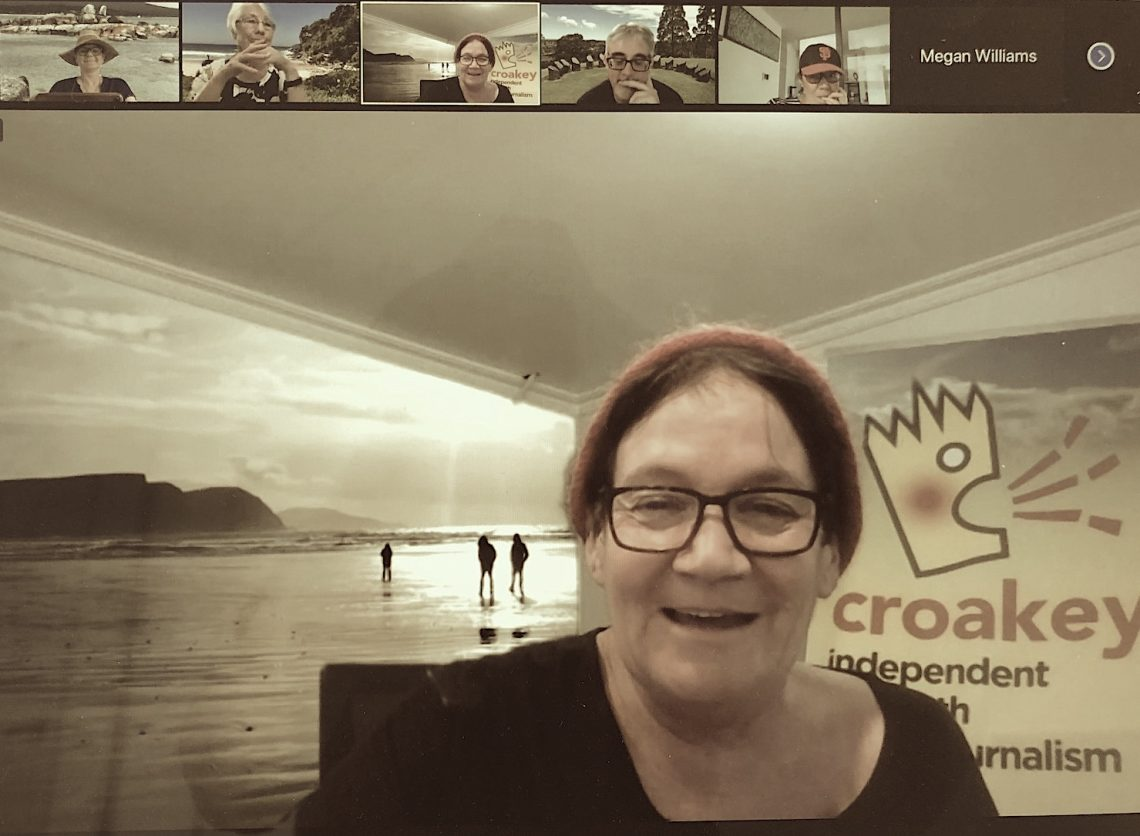 For work and play: the Croakey team on Zoom, with managing editor Marie McInerney
